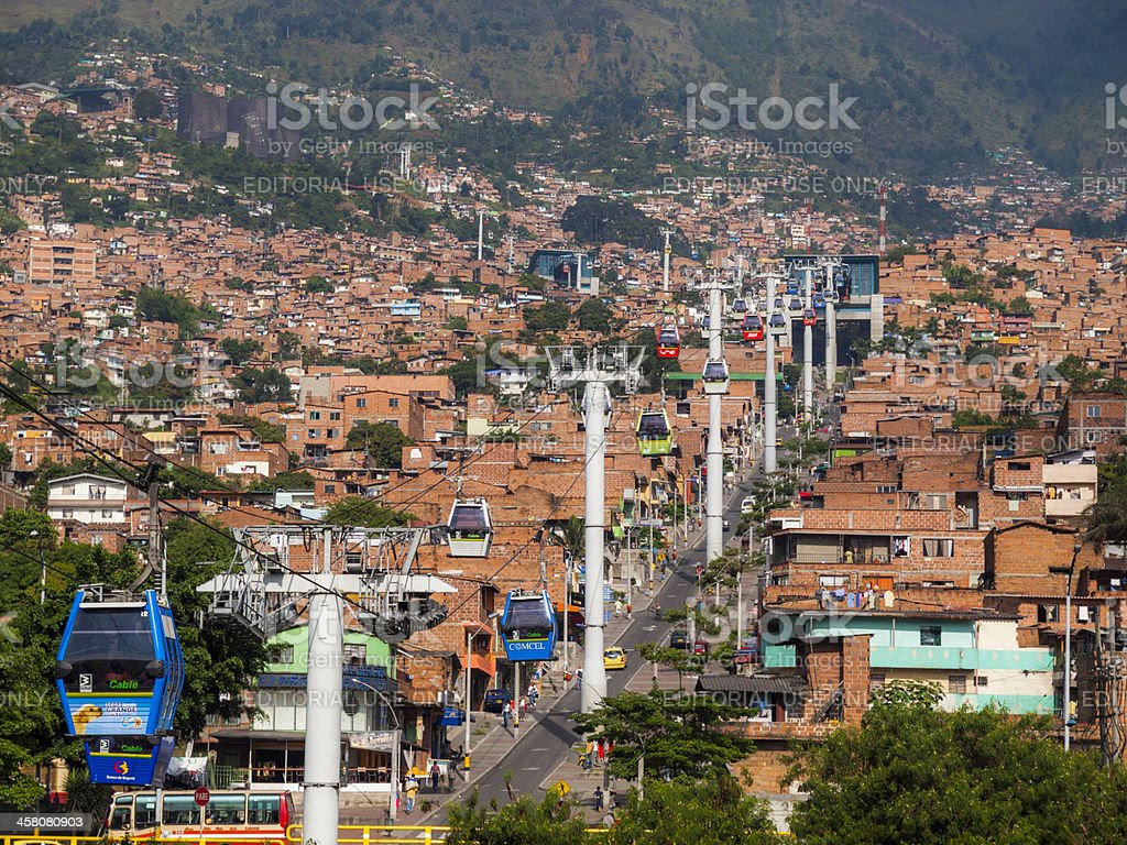Metrocable cable cars, Medellin, Colombia stock photo