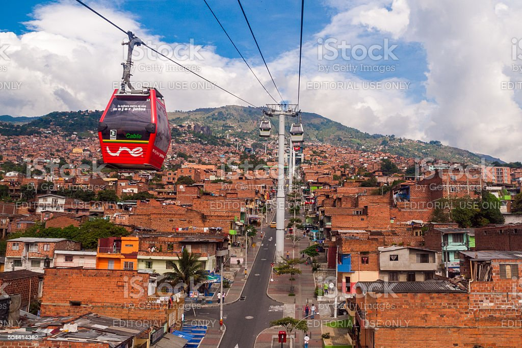 Metrocable cars in Medellin, Colombia stock photo