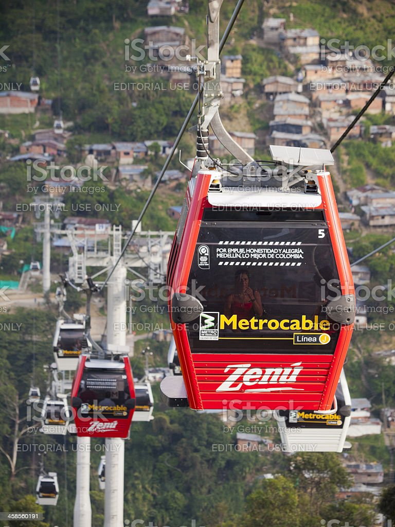 Metrocable gondolas in Medellin, Colombia stock photo