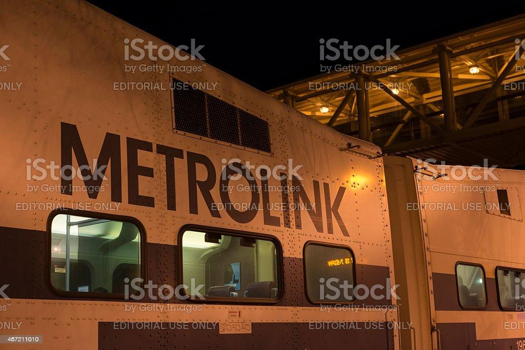 Metrolink commuter train in Orange County stock photo