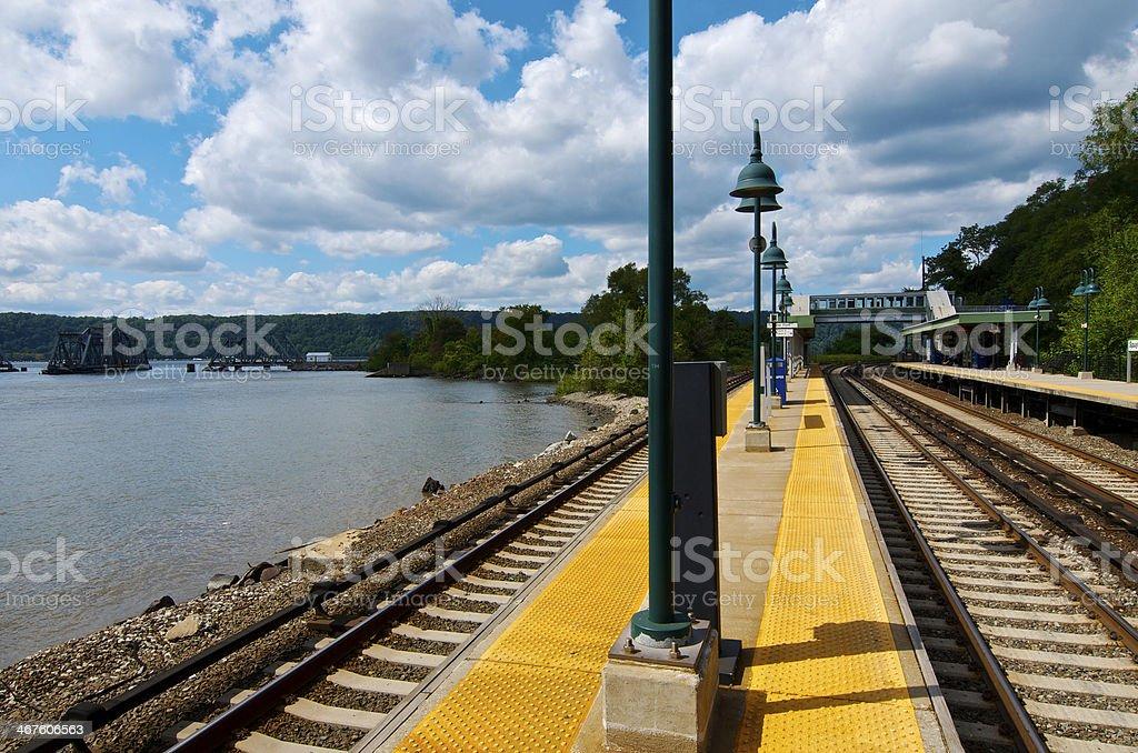 Metro-North Commuter Railroad  station & tracks curve, Bronx, NYC stock photo