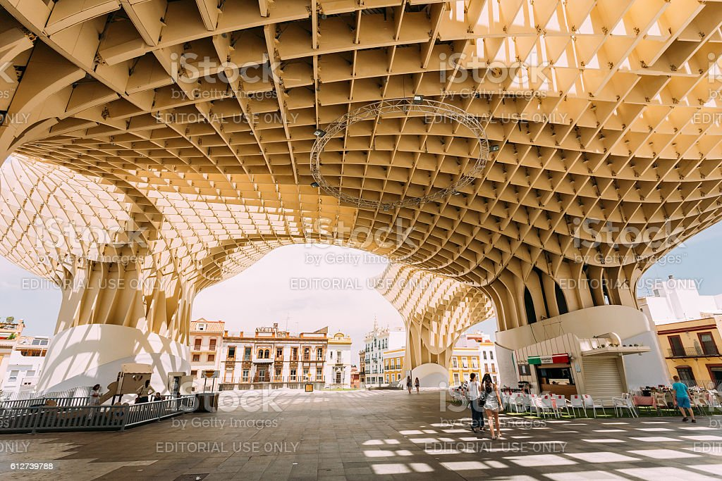 Metropol Parasol is  wooden structure located Plaza de la Encarnacion stock photo