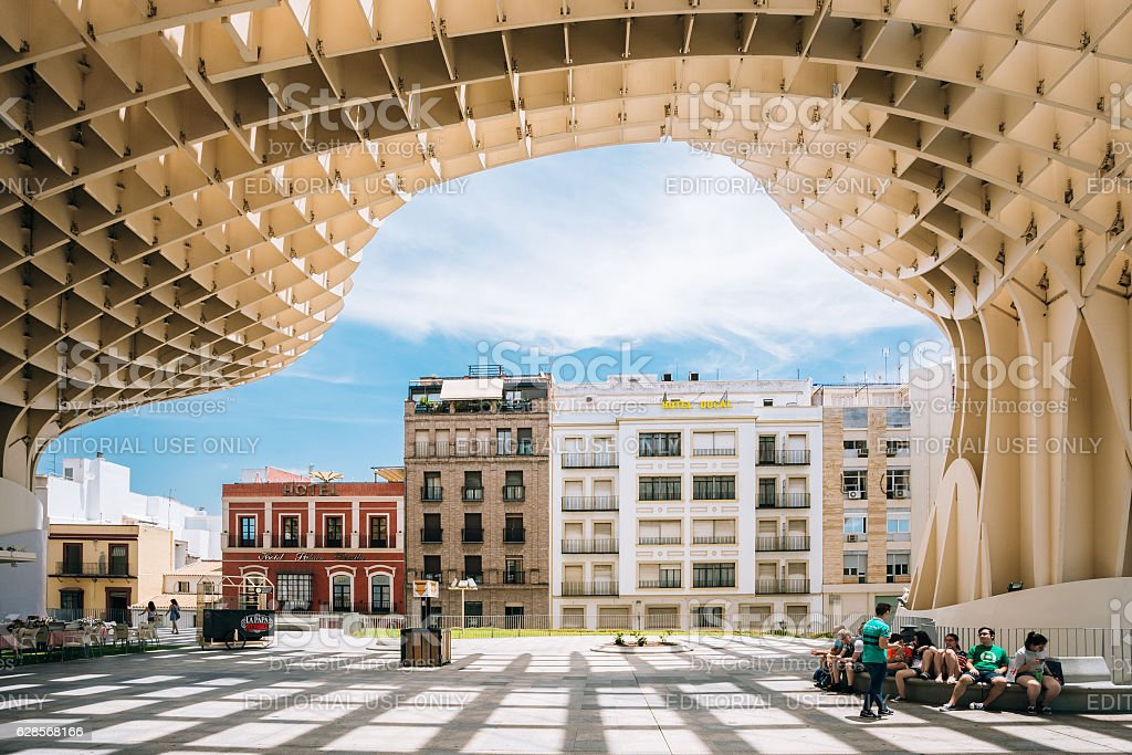 Metropol Parasol, wooden structure located Plaza de la  Encarnacion square stock photo