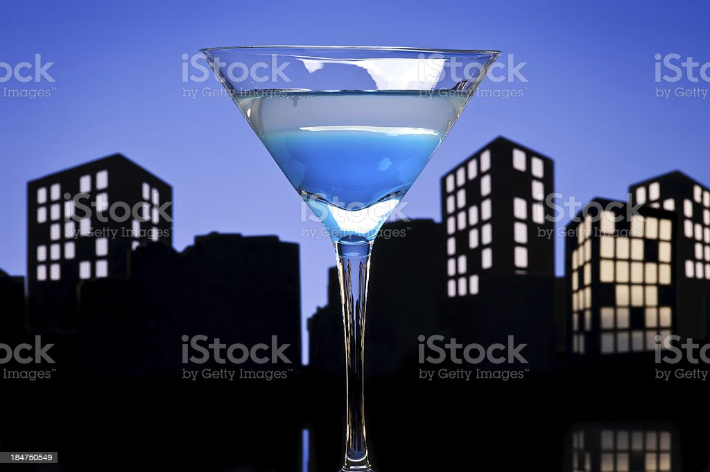 Metropolis Blue Martini cocktail royalty-free stock photo