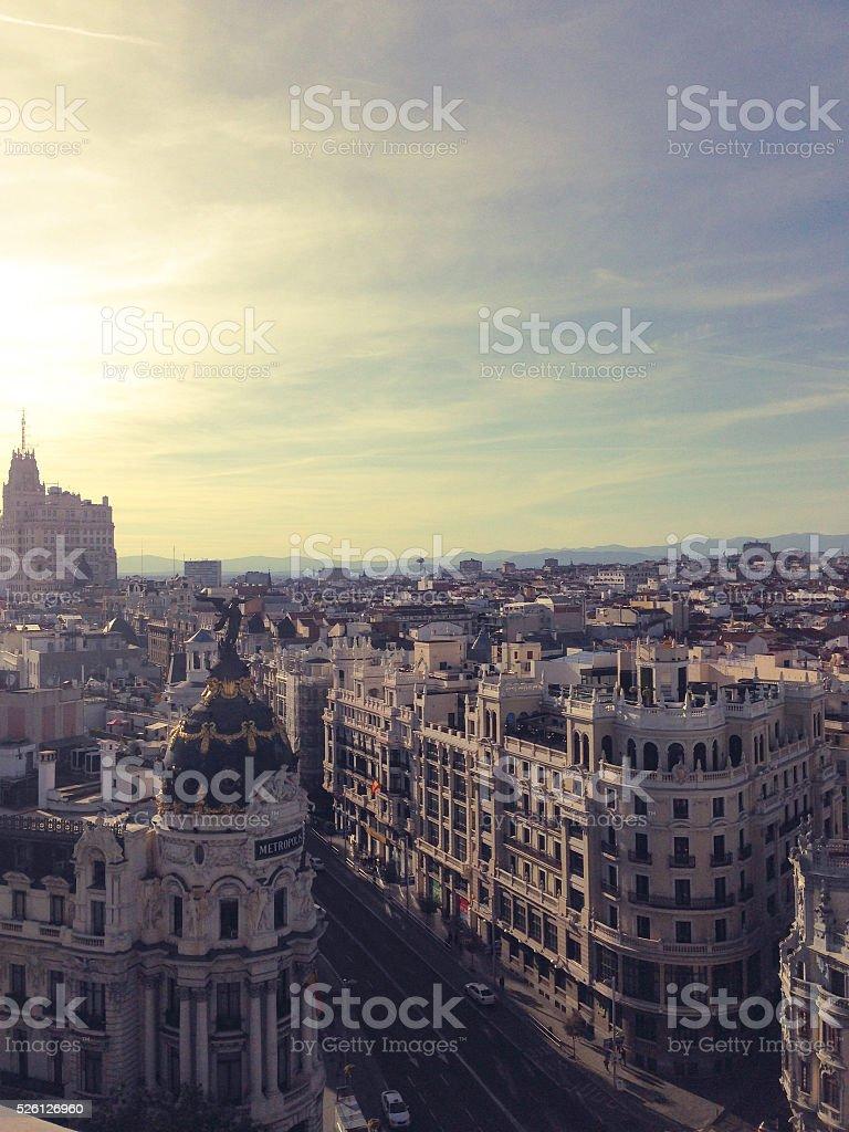Metropolis building and skyview of Madrid stock photo