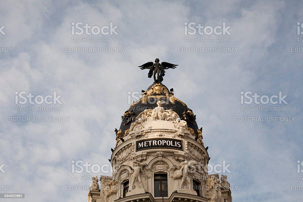 Metropolis building detail in  Madrid stock photo