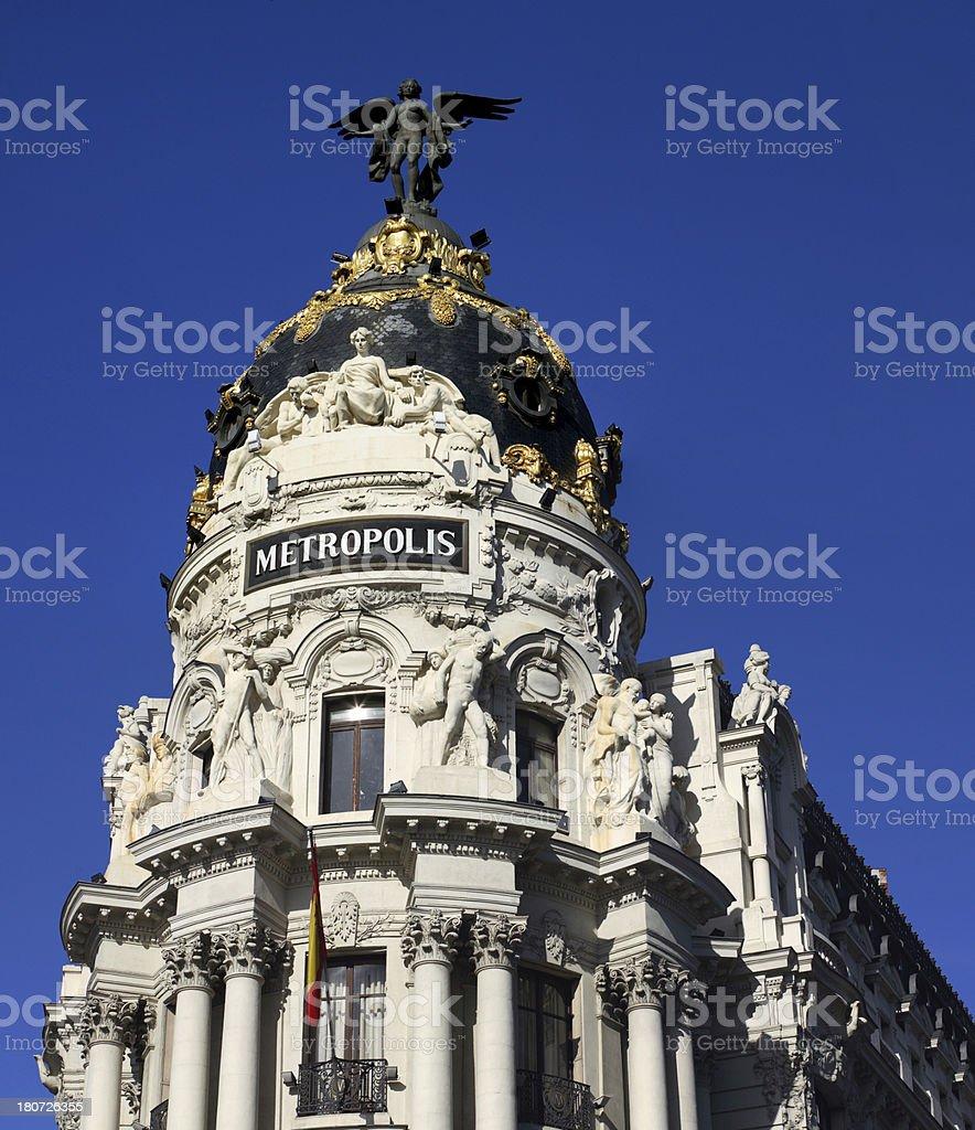 Metropolis building, Gran Via, Madrid, Spain stock photo
