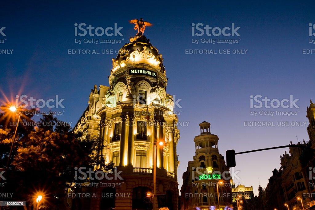 Metropolis building in Madrid at sunset stock photo