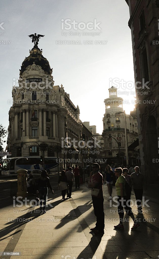 Metropolis building in Madrid stock photo