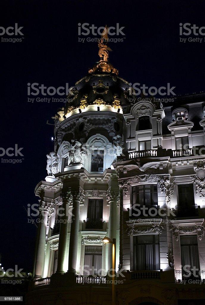 Metropolis Building in Madrid, Spain on the night stock photo