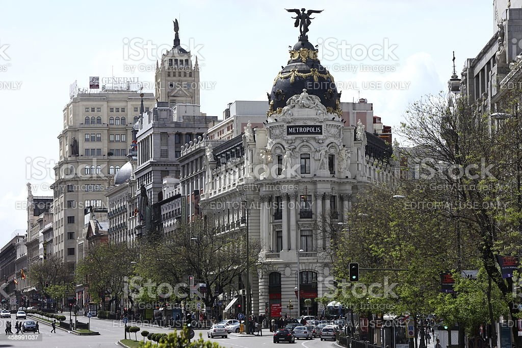 Metropolis building in Madrid, Spain stock photo
