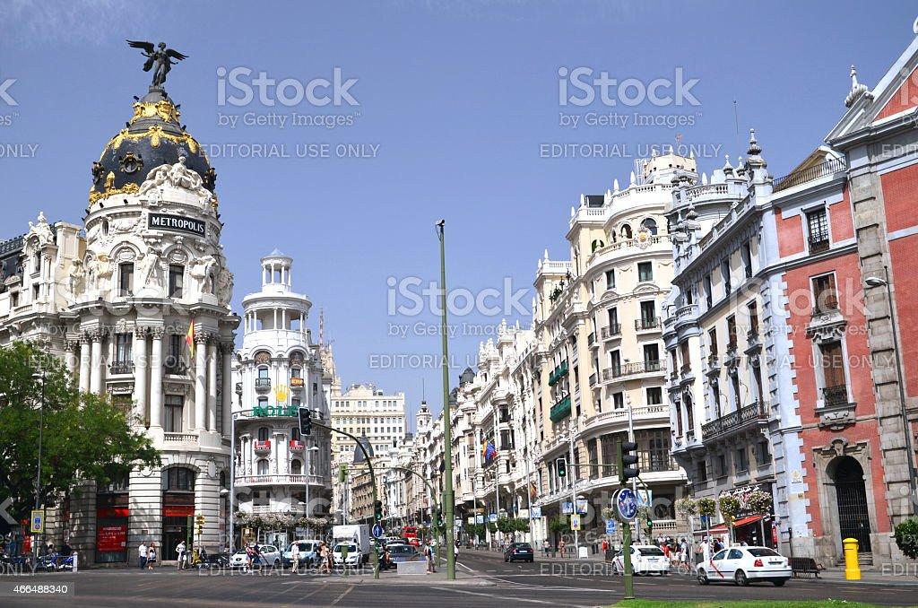 Metropolis building situated on Gran Via street in Madrid, Spain stock photo