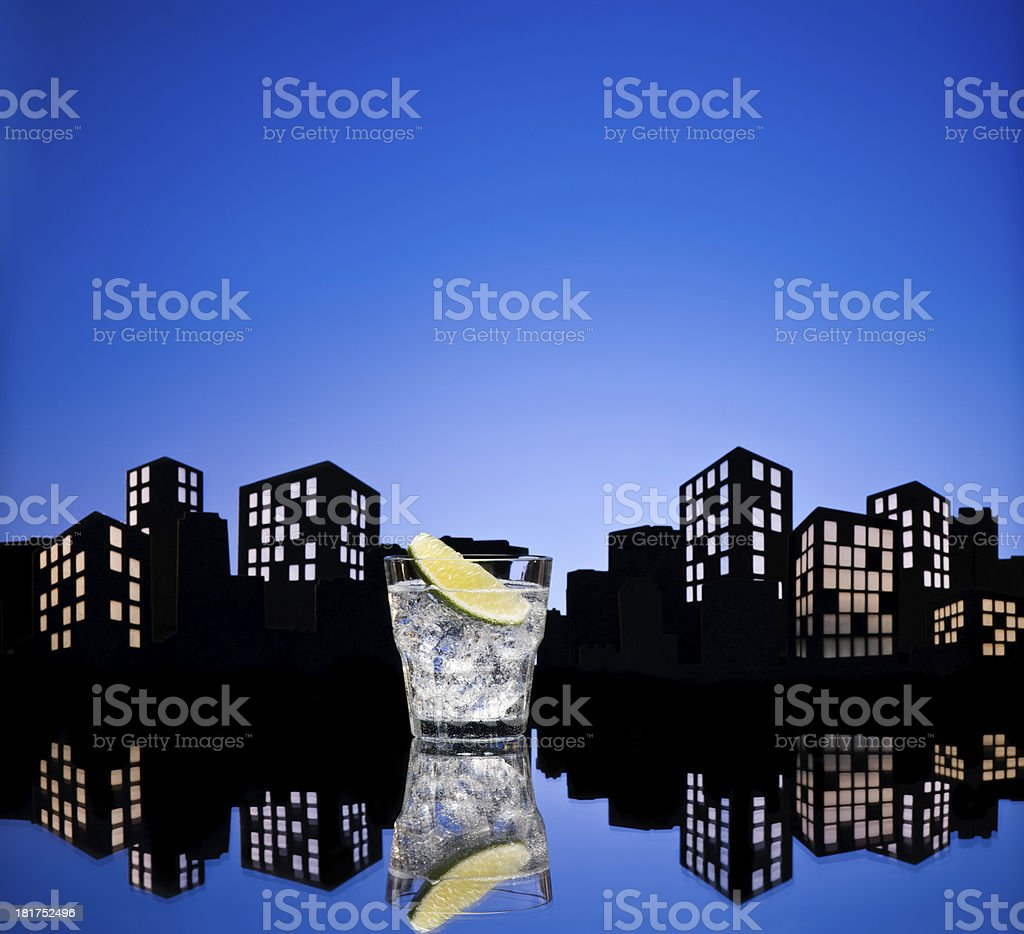 Metropolis Gin Tonic tom collins cocktail royalty-free stock photo