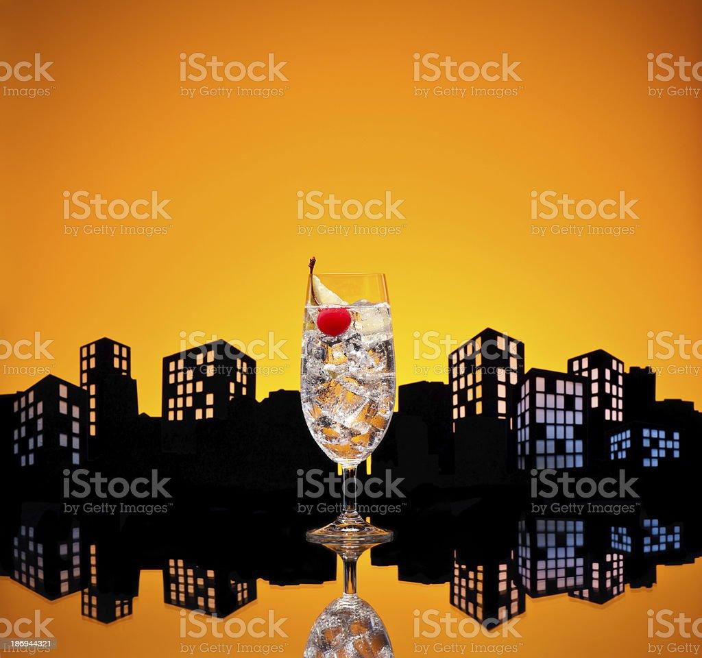 Metropolis Gin Tonic tom collins cocktail royalty-free stock photo