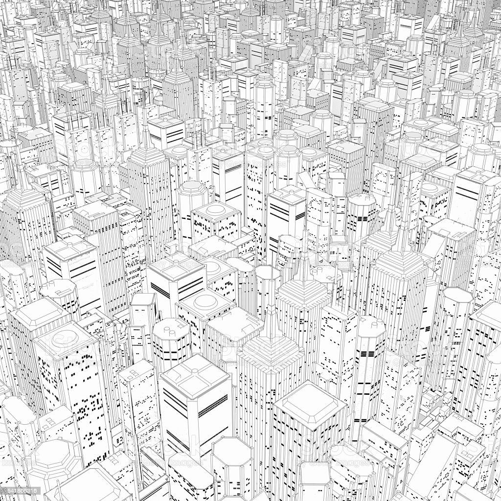 Metropolis in black and white stock photo