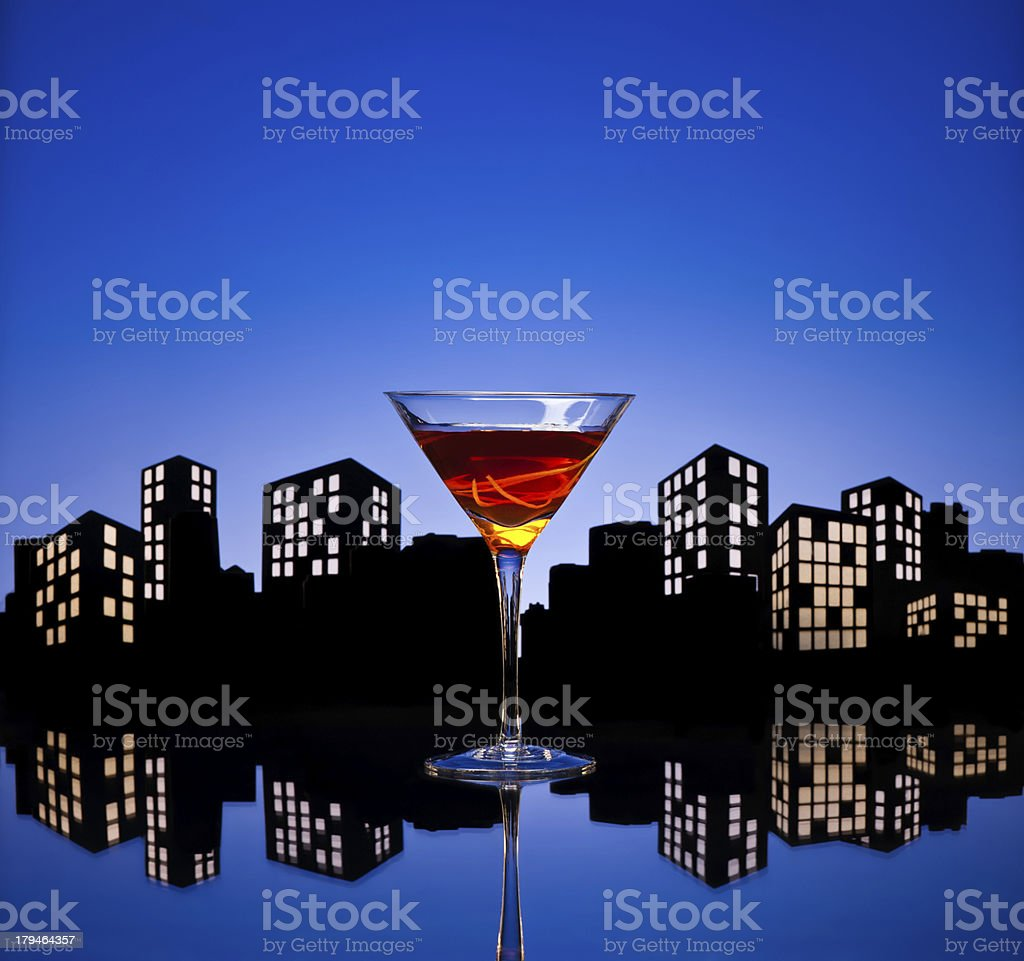 Metropolis Manhattan Cocktail royalty-free stock photo