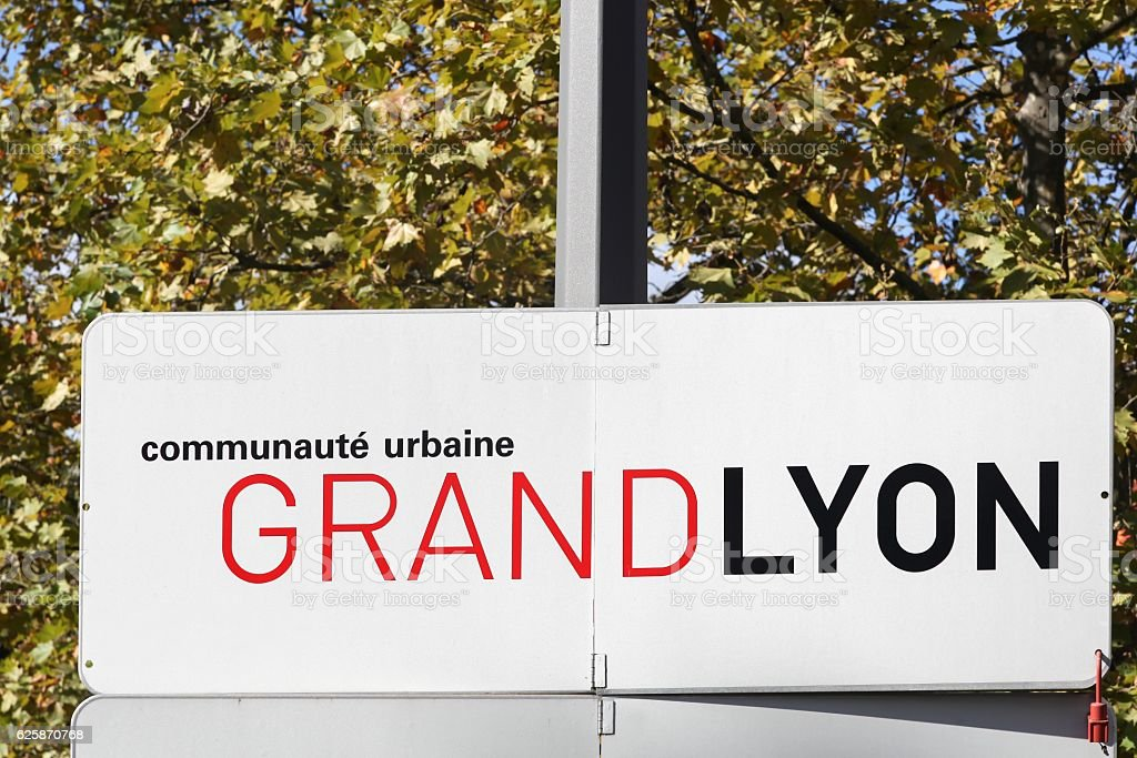 Metropolis of Lyon panel called Grand Lyon in French stock photo