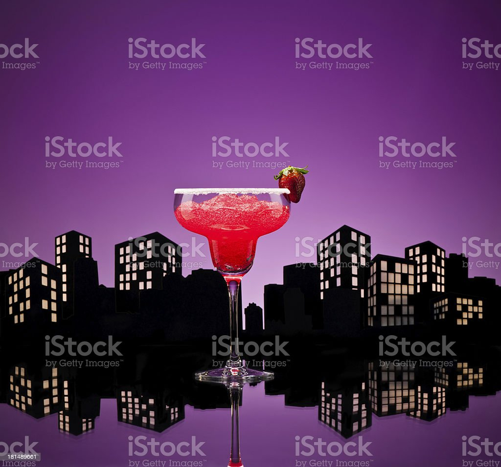 Metropolis strawberry Margarita cocktail royalty-free stock photo