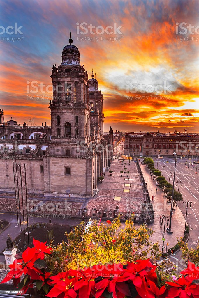 Metropolitan Cathedral Christmas Zocalo Mexico City Sunrise Mexico stock photo