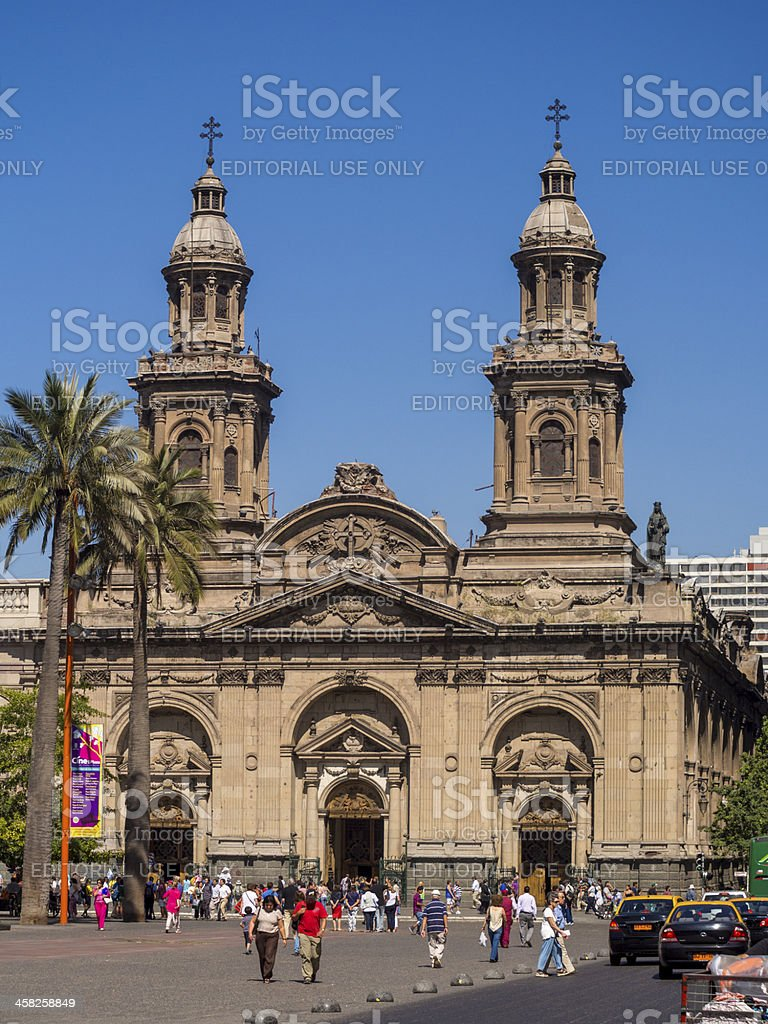 Metropolitan Cathedral in central Santiago, Chile stock photo