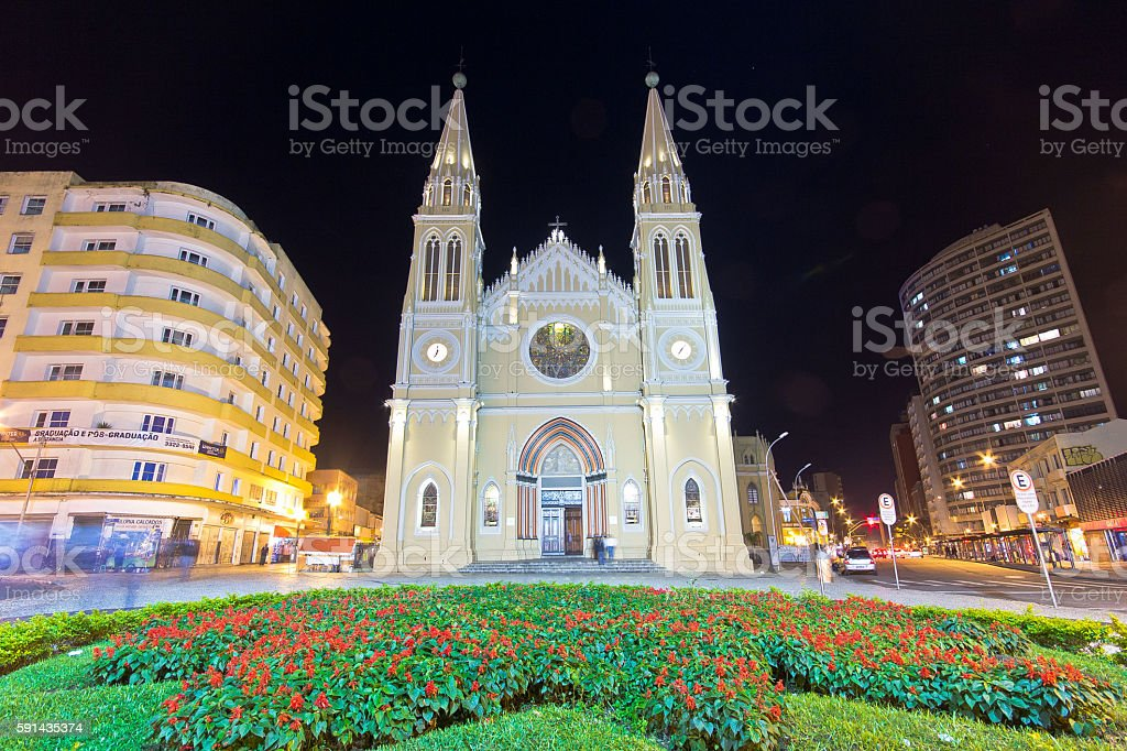 Metropolitan Cathedral of Curitiba, Brazil stock photo