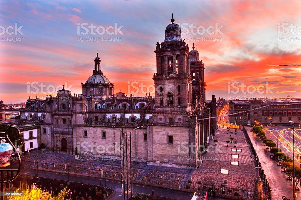Metropolitan Cathedral Zocalo Mexico City Sunrise Mexico stock photo