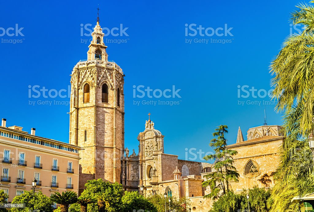 Metropolitan Cathedral-Basilica of the Assumption in Valencia, Spain stock photo