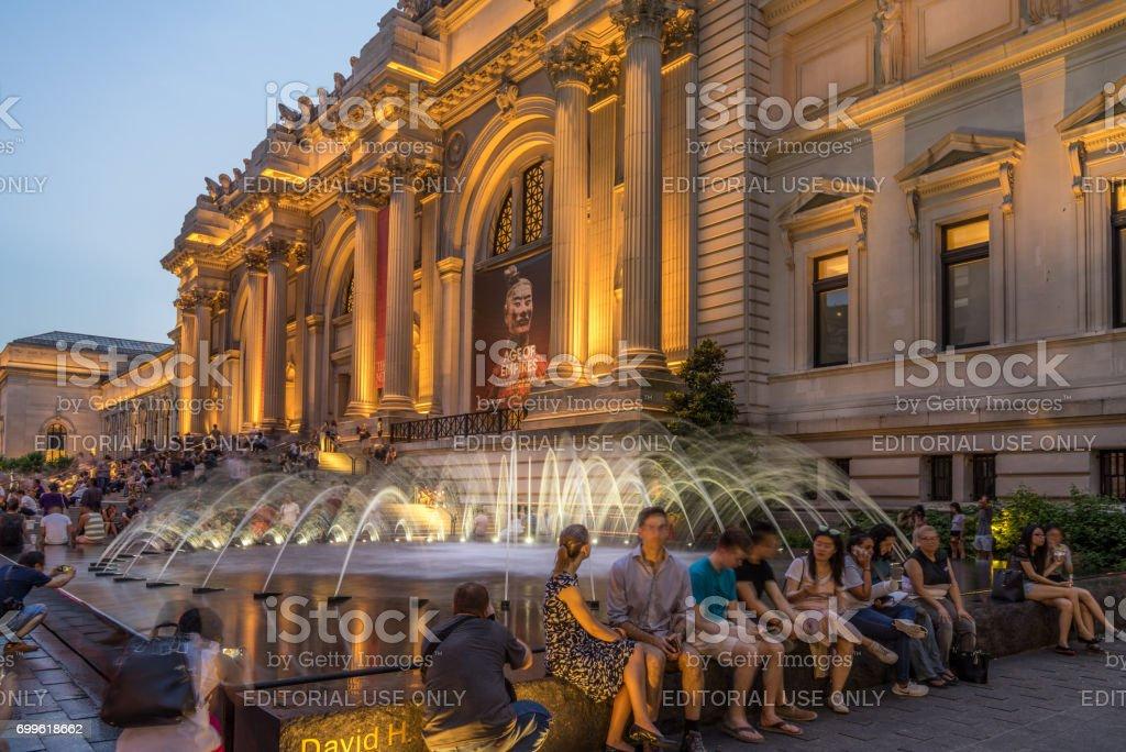 Metropolitan Museum of Art at night stock photo
