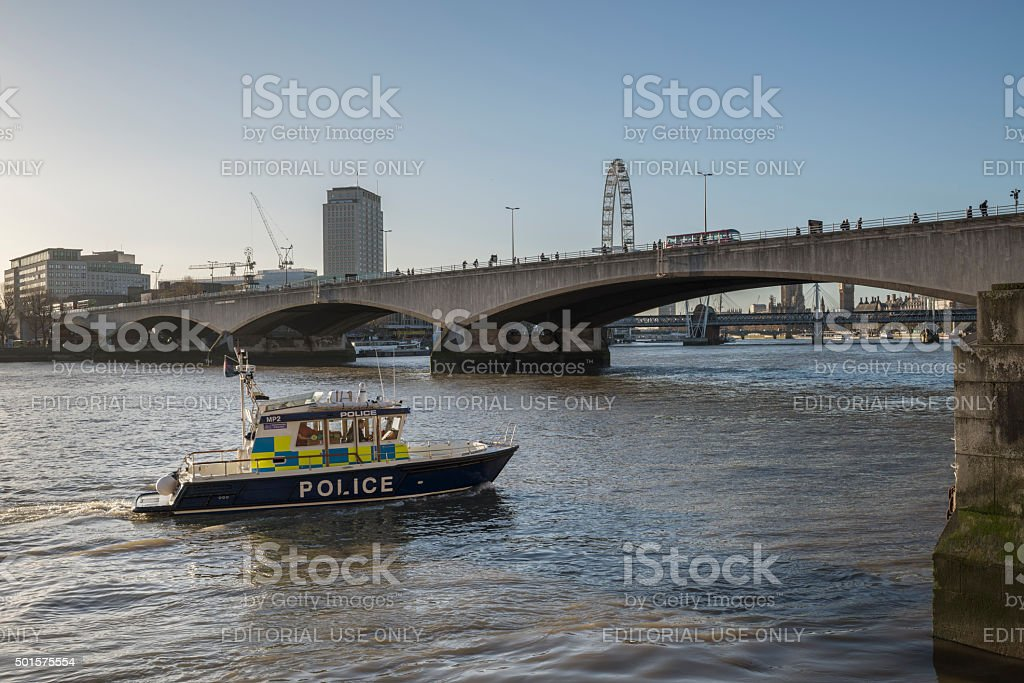 Metropolitan Police boat John Harriott IV on the Thames, London stock photo