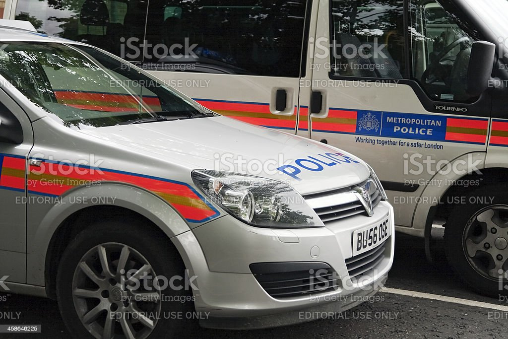 Metropolitan Police car and van stock photo