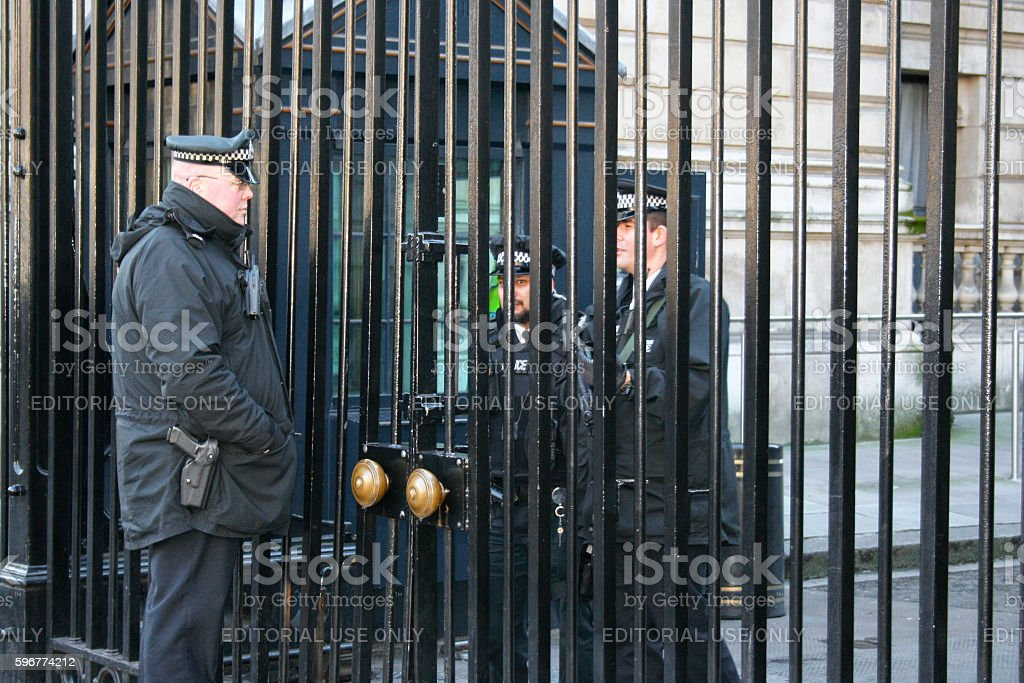 Metropolitan Police officers at Downing Street stock photo