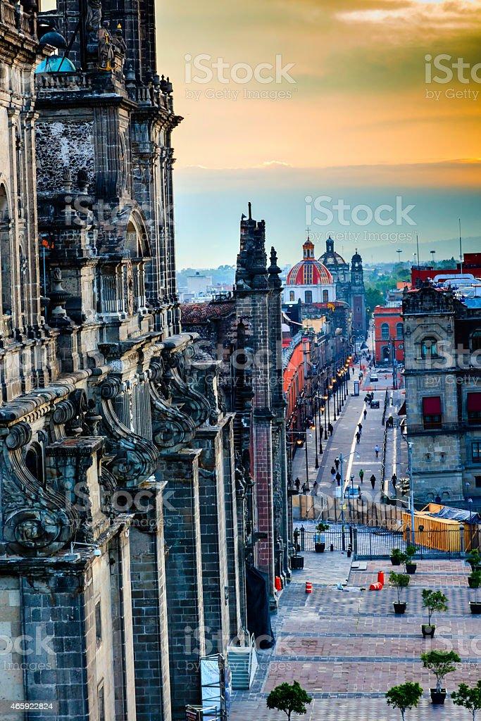 Metropolitcan Cathedral Streets Zocalo Churches Domes Mexico City Mexico stock photo