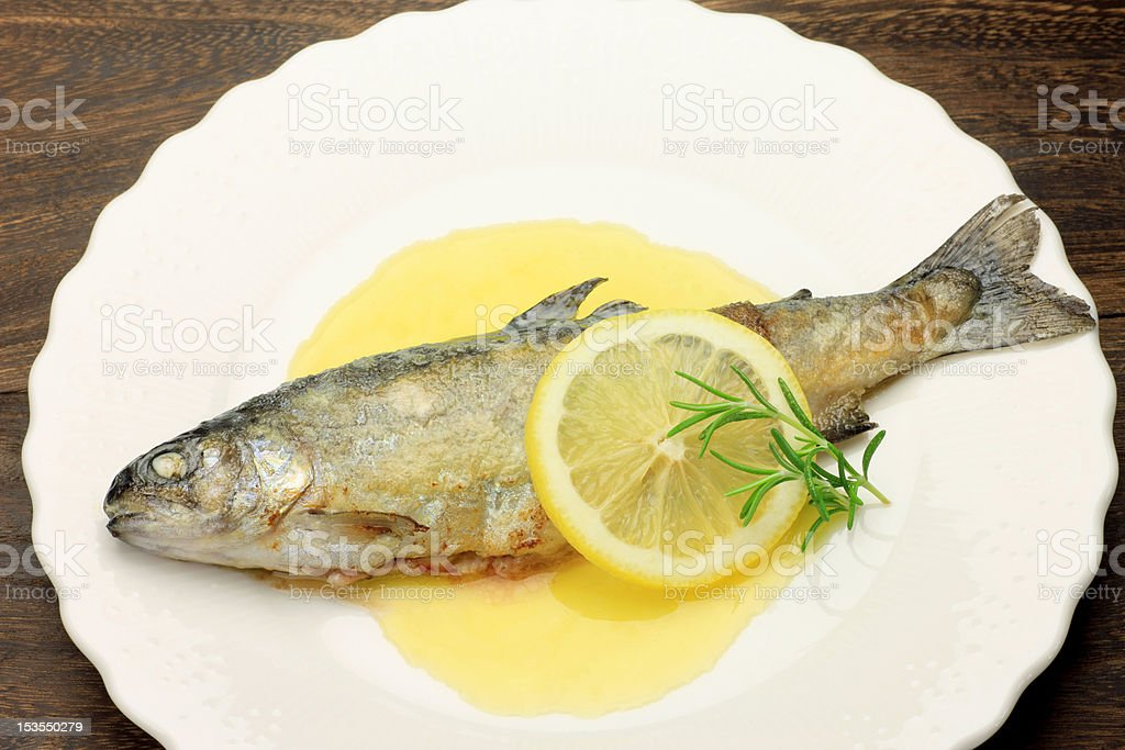 meuniere of the rainbow trout royalty-free stock photo