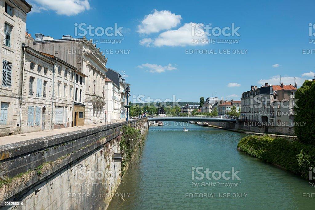 Meuse River in Verdun, France stock photo