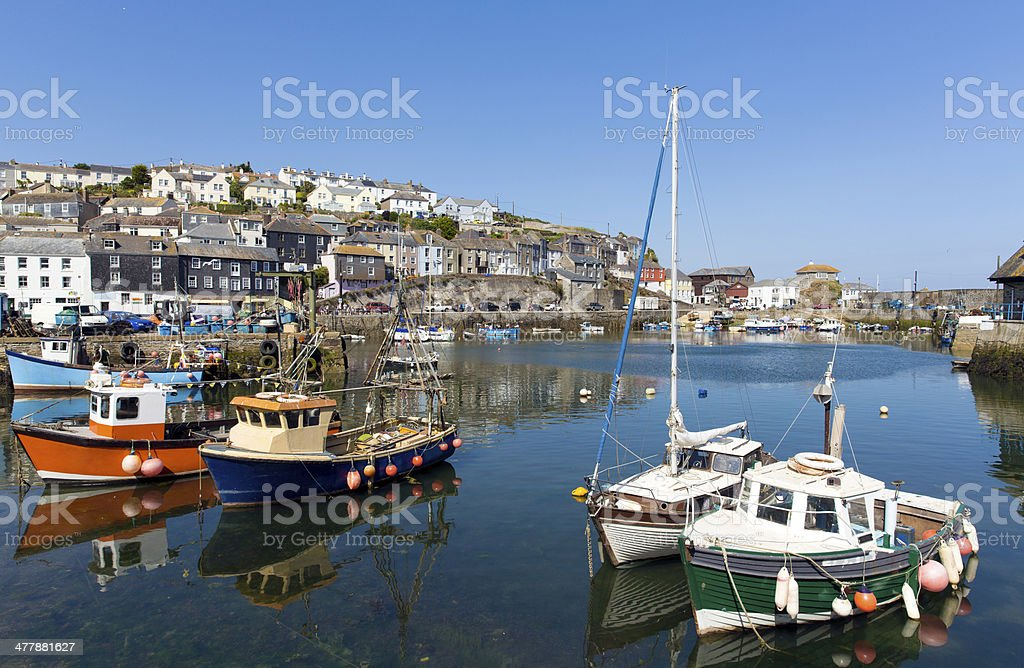 Mevagissey Cornwall England boats in the harbour stock photo