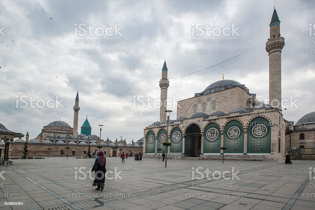 Mevlana Museum and Selimiye Mosque stock photo