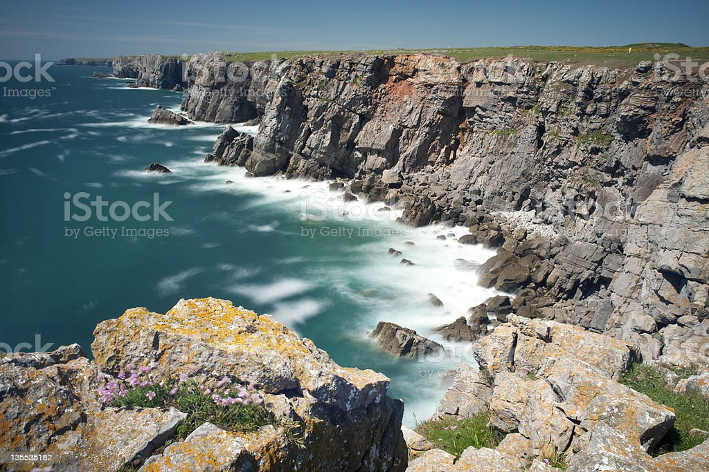 Mewsford Point cliffs from The Castle, Pembrokeshire, Wales, UK royalty-free stock photo