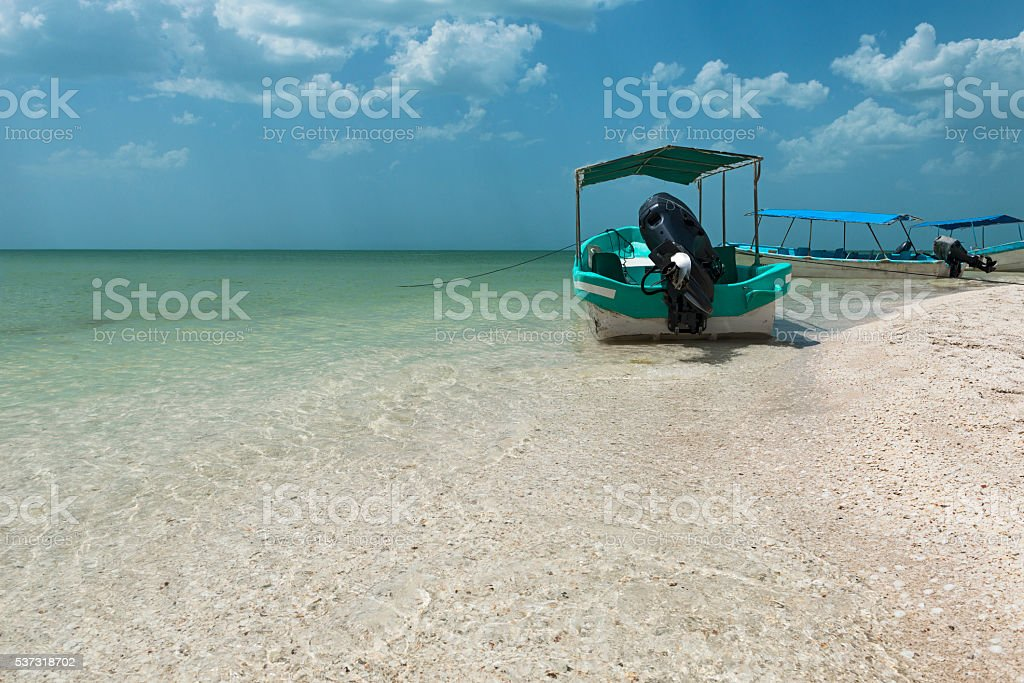 Mexicain fishing boat stock photo