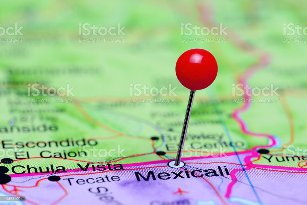 Mexicali pinned on a map of Mexico stock photo
