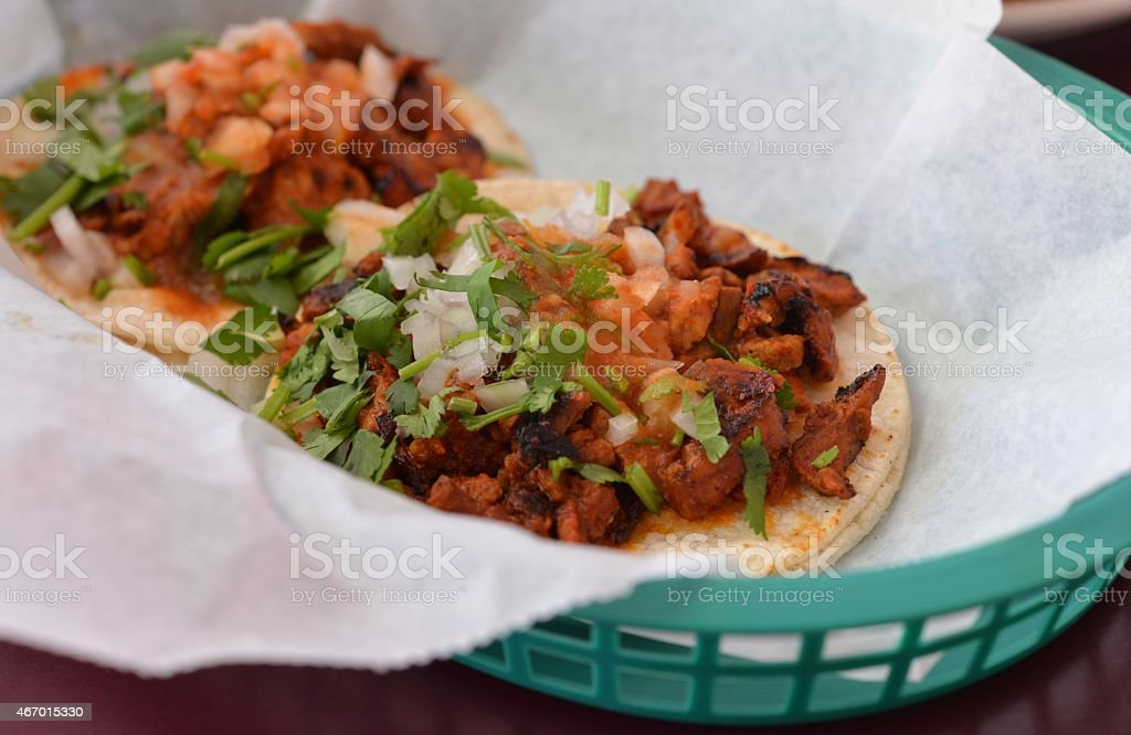Mexican Al Pastor Tacos in Basket stock photo