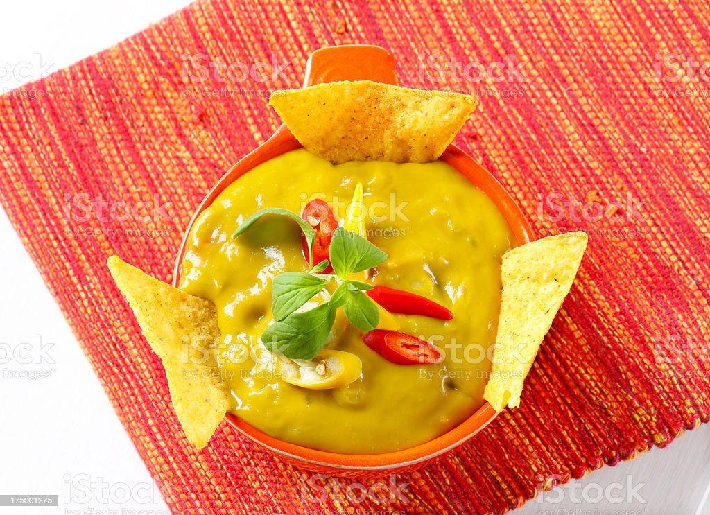 mexican avocado sauce guacamole in a bowl royalty-free stock photo