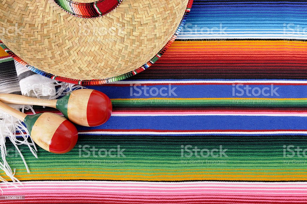 Mexican background with traditional blanket and sombrero stock photo