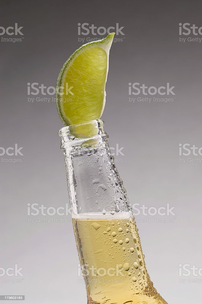 Mexican Beer Wet Lime Vertical stock photo