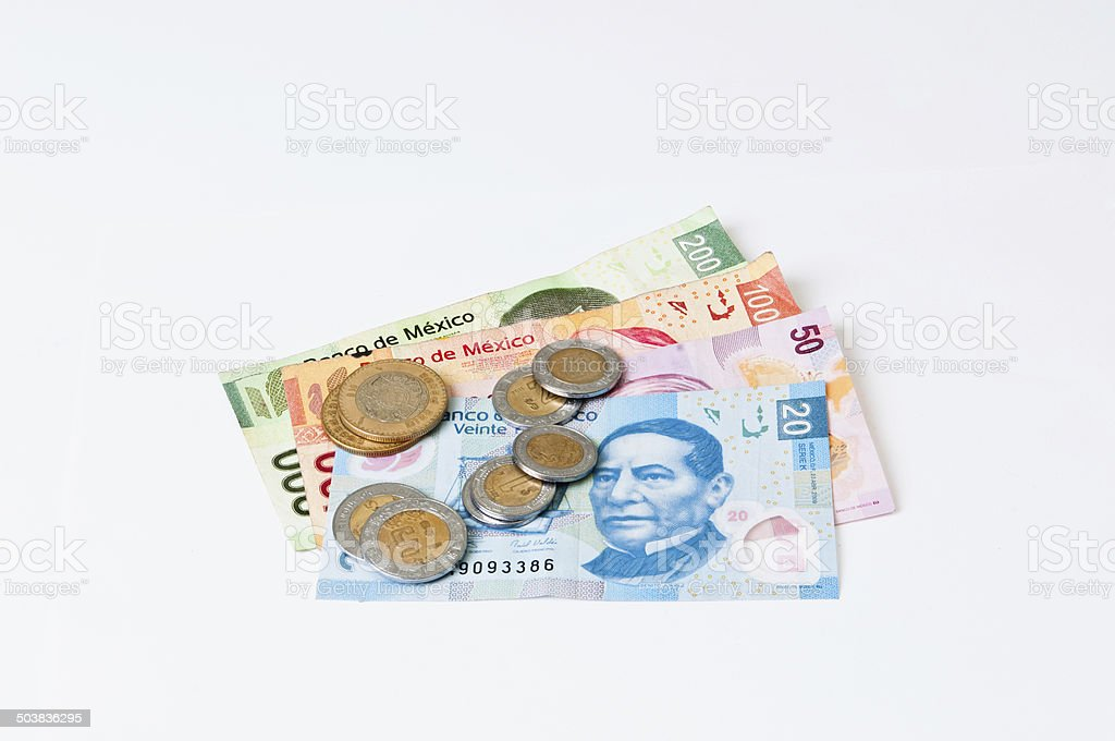 Mexican bills and coins stock photo