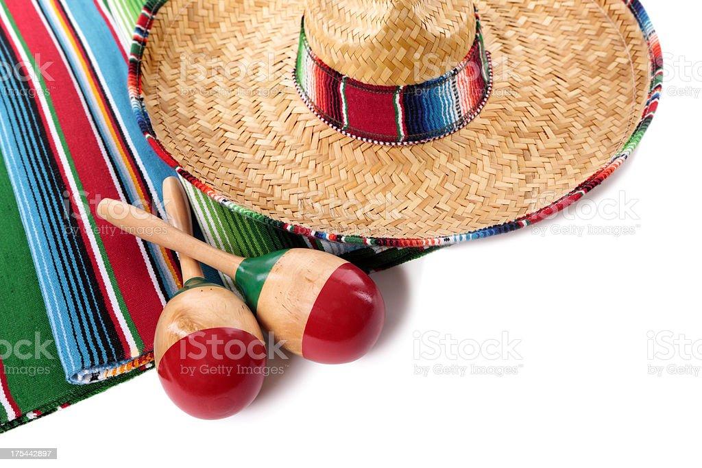 Mexican blanket and sombrero stock photo