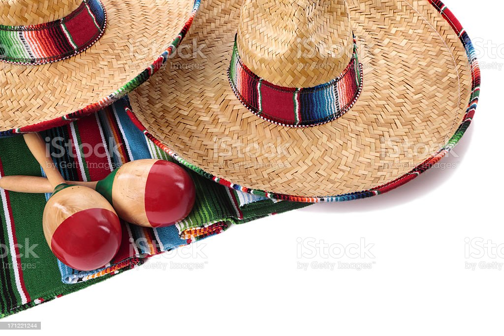 Mexican blanket and sombreros royalty-free stock photo