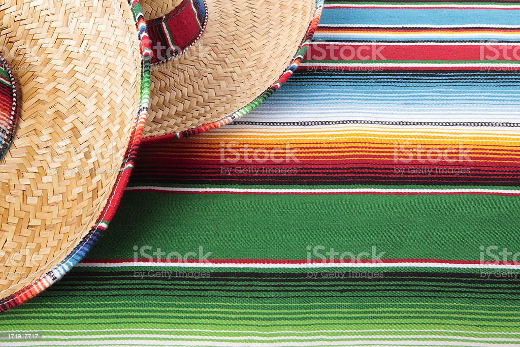Mexican blanket with two sombreros royalty-free stock photo