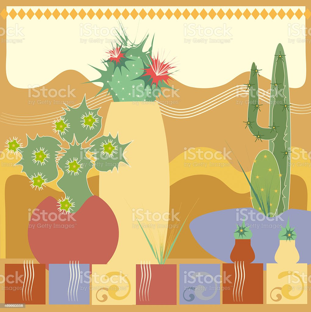 Mexican cactus in pots stock photo