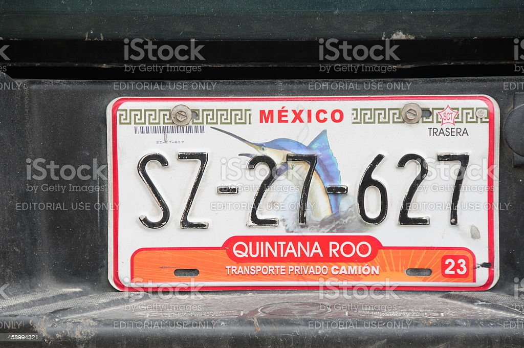 Mexican car number plate. royalty-free stock photo