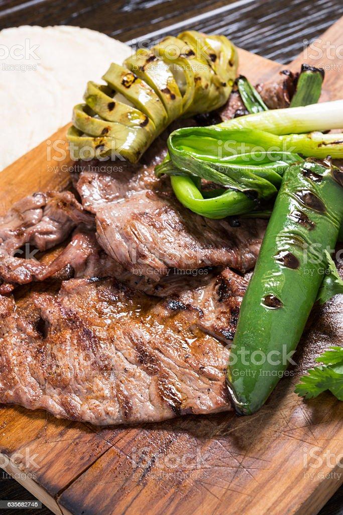 Mexican Carne Asada (beef steak) stock photo